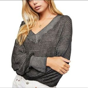 Free People South Side Waffle Knit Top